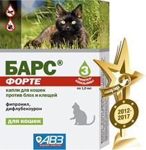 АгроВетЗащита Барс Форте / Капли для кошек против блох и клещей