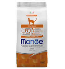 Monge Cat Monoprotein Sterilised / Сухой корм Монж Монопротеиновый для Стерилизованных кошек Утка
