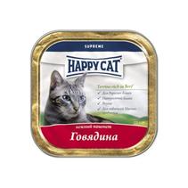 Заказать Happy Cat / Нежный Паштет для кошек Говядина кусочками (Германия) по цене 2200 руб