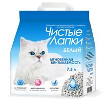 Заказать Чистые лапки Наполнитель для кошачьего туалета Гигиенический Впитывающий Белый 7,5 л по цене 460 руб