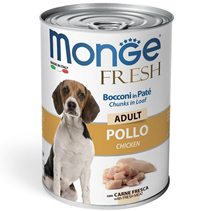 Monge Dog Fresh Adult Chunks in Loaf Chicken / Влажный корм Консервы Монж для взрослых собак Мясной рулет с Курицей (цена за упаковку)