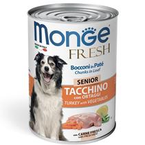 Monge Dog Fresh Senior Chunks in Loaf Turkey with Vegetables / Влажный корм Консервы Монж для Пожилых собак Мясной рулет с Индейкой и овощами (цена за упаковку)