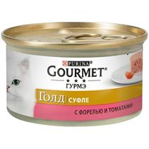 Gourmet Gold / Консервы Гурме Голд для кошек Суфле с Форелью и томатами (цена за упаковку)