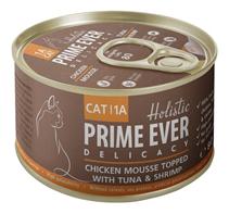 Prime Ever Cat 1A Delicacy Chicken mousse / Влажный корм Прайм Эвер для кошек мусс Цыпленок с Тунцом и Креветками (цена за упаковку)