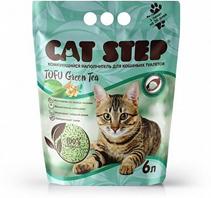 Cat Step Tofu Green Tea / Комкующийся растительный наполнитель для кошачьего туалета