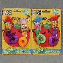 """Fat Cat Springy Worms Toy / Игрушка Фэт Кэт мягкая для кошек """"Червяк пружинка"""" 2 шт на блистере"""