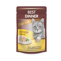 Best Dinner High Premium / Паучи Бест Диннер для кошек Курица в желе (цена за упаковку)