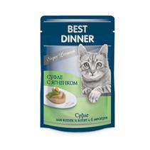 Заказать Best Dinner / Мясные деликатесы Паучи для кошек Суфле с Ягненком Цена за упаковку по цене 710 руб