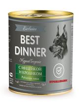 Best Dinner Exclusive Hypoallergenic / Консервы Бест Диннер для собак с Индейкой и кроликом (цена за упаковку)