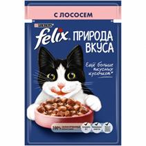 Felix Природа вкуса / Паучи Феликс для кошек с Лососем (цена за упаковку)