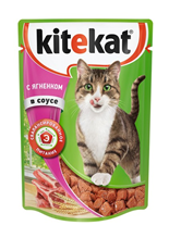 Kitekat / Паучи Китикет для кошек Ягненок в соусе (цена за упаковку)