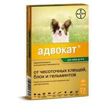 Bayer Адвокат / Капли на холку от Чесоточных Клещей, Блох и Гельминтов для собак весом до 4 кг