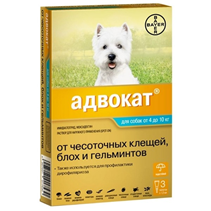 Bayer Адвокат 100 / Капли на холку от Чесоточных Клещей, Блох и Гельминтов для собак весом 4-10 кг