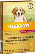 Bayer Адвокат 250 / Капли на холку от Чесоточных Клещей, Блох и Гельминтов для собак весом 10-25 кг