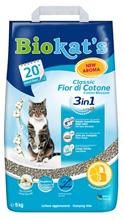Biokats Classic 3in1 Fior di Coton / Комкующийся наполнитель Биокэтс для кошачьего туалета с Ароматом хлопка