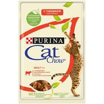 Заказать Purina Cat Chow Beef / Паучи для кошек с Говядиной и баклажанами в желе Цена за упаковку по цене 120 руб