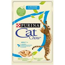 Заказать Purina Cat Chow Salmon / Паучи для кошек с Лососем и зеленым горошком в желе Цена за упаковку по цене 120 руб