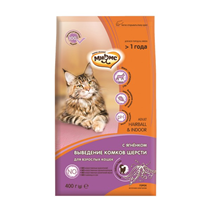 Мнямс Hairball & Indoor Сухой корм для Домашних кошек для выведения комков шерсти из желудка с Ягненком