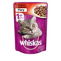 Whiskas Beef Lamb / Паучи Вискас для взрослых кошек Говядина Ягненок рагу (цена за упаковку)