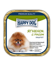 Happy Dog / Паштет Хэппи Дог для взрослых собак Мелких пород Ягнёнок с рисом (цена за упаковку)