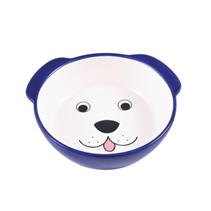 КерамикАрт / Миска керамическая для собак Мордочка собаки синяя