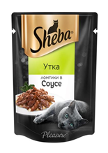 Sheba Pleasure / Паучи Шеба для кошек Утка ломтики в Соусе (цена за упаковку)