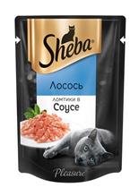 Sheba Pleasure / Паучи Шеба для кошек Лосось ломтики в Соусе (цена за упаковку)