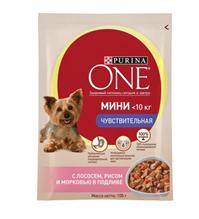 Purina One Dog Мини Чувствительная / Паучи Пурина Уан для собак Мелких пород Лосось рис (цена за упаковку)