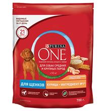Purina One Dog / Сухой корм Пурина Уан для Щенков собак Средних и Крупных пород весом более 10 кг Курица рис
