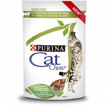 Purina Cat Chow Sterilised / Паучи Пурина Кэт Чау для Стерилизованных кошек с Ягненком и зеленой фасолью в соусе (цена за упаковку)