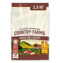 Country Farms Dog Adult Grain free recipe Beef / Сухой Беззерновой полнорационный корм Кантри Фармз для взрослых собак с высоким содержанием Говядины