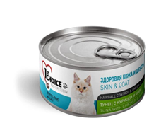 1st Choice Skin & Coat Hairball Control & Omega 3 / Консервы Фёст Чойс для кошек Тунец с Курицей и Киви (цена за упаковку)