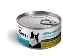1st Choice Skin & Coat Hairball Control & Omega 3 / Консервы для кошек Тунец с Курицей и Ананасом Цена за упаковку