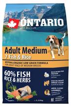 Ontario Adult Medium 7 Fish & Rice / Сухой корм Онтарио для взрослых собак Средних пород 7 видов рыб и рис