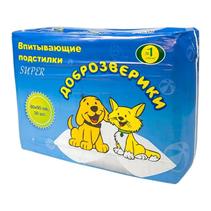 Заказать Доброзверики Подстилки впитывающие для животных 30шт по цене 1150 руб