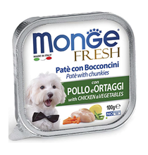 Monge Dog Fresh Chicken / Влажный корм Консервы Монж Фреш для взрослых собак Курица с овощами (цена за упаковку)
