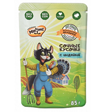 Мнямс Фермерская ярмарка Влажный корм Паучи для кошек Сочные кусочки с Индейкой (цена за упаковку)