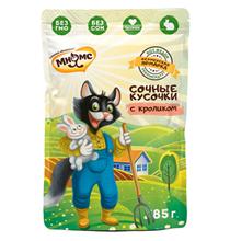 Мнямс Фермерская ярмарка Влажный корм Паучи для кошек Сочные кусочки с Кроликом (цена за упаковку)
