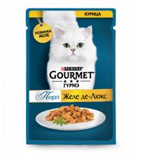 Gourmet Perle / Паучи Гурме Перл для кошек Желе де-Люкс Курица (цена за упаковку)