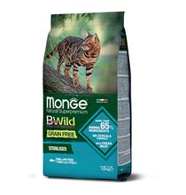 Monge Cat BWild Grain Free Sterilised Tuna Peas / Сухой Беззерновой корм Монж Бивайлд для Стерилизованных кошек Тунец горох