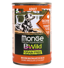 Monge Dog BWild Grainfree Adult Turkey / Консервы Беззерновые Монж для взрослых собак Индейка тыква цукини (цена за упаковку)
