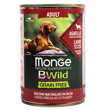 Monge Dog BWild Grainfree Adult Lamb / Консервы Беззерновые Монж для взрослых собак Ягненок тыква цукини (цена за упаковку)