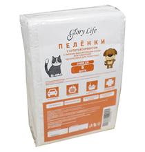 Glory Life / Пеленки Глори Лайф для животных с Суперабсорбентом и Липким фиксирующим слоем Одноразовые Белые