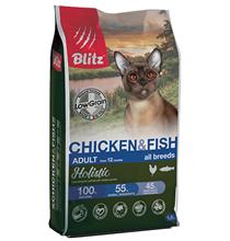 Blitz Holistic Low Grain Adult Chicken & Fish / Сухой Низкозерновой корм Блиц для взрослых кошек Курица Рыба