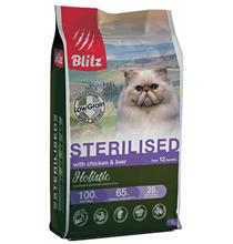 Blitz Holistic Low Grain Adult Sterilised Chicken & Liver / Сухой Низкозерновой корм Блиц для взрослых Стерилизованных кошек Курица Печень