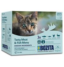 Bozita Meat & Fish Multibox / Паучи Бозита для взрослых кошек кусочки в соусе Мясной и Рыбный микс (цена за упаковку)