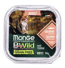 Monge Cat BWild Grain Free Adult Salmon Pate / Влажный Беззерновой корм Монж для кошек Паштет из Лосося с овощами (цена за упаковку)