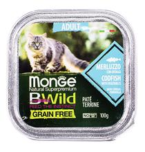 Monge Cat BWild Grain Free Adult Codfish Pate / Влажный Беззерновой корм Монж для кошек Паштет из Трески с овощами (цена за упаковку)