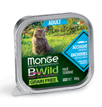 Monge Cat BWild Grain Free Adult Anchovies Pate / Влажный Беззерновой корм Монж для кошек Паштет из Анчоусов с овощами (цена за упаковку)