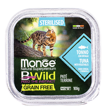 Monge Cat BWild Grain Free Sterilised Tuna Pate / Влажный Беззерновой корм Монж для Стерилизованных кошек Паштет из Тунца с овощами (цена за упаковку)